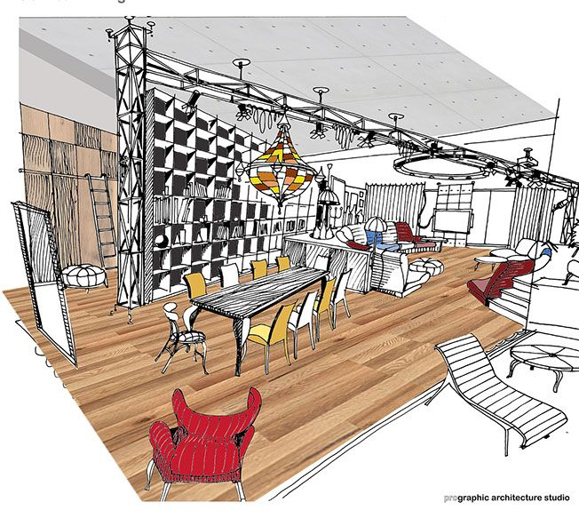 Concept sketch for dining area, Backstage concept - Apartment M, Bucharest