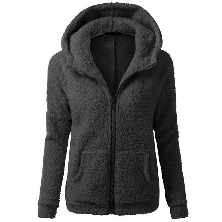 Women Warm Winter Thicken Fleece Coat Zip Up Hooded Slim Parka Jacket Overcoat Hoddies
