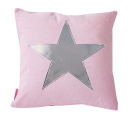 Kussen Roze met een zilveren ster. Ook leuk voor op een kinderkamer!