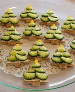 Adorable Christmas cucumber sandwiches!