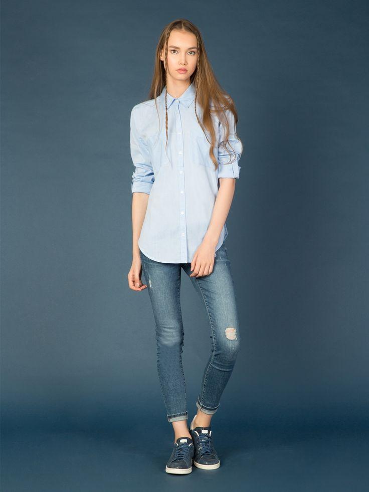 Mavi Bayan Gömlek U.kol - Ofis Şıklığı | Colin's Online Alışveriş