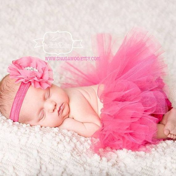 3 PIECE SET- Hot pink Tutu, Infant Baby Girl Tutu, baby headband bow, lace bloomers, newborn photo prop, baby girl gift, newborn girl, photo