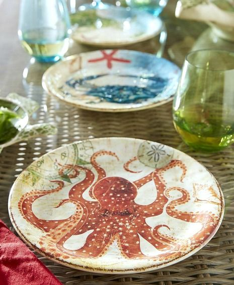 Coastal outdoor dining with sea creature plates: http://www.completely-coastal.com/2014/04/coastal-nautical-melamine-plates-outdoor-entertaining.html This coastal, beach and nautical outdoor dinnerware is made from sturdy melamine.