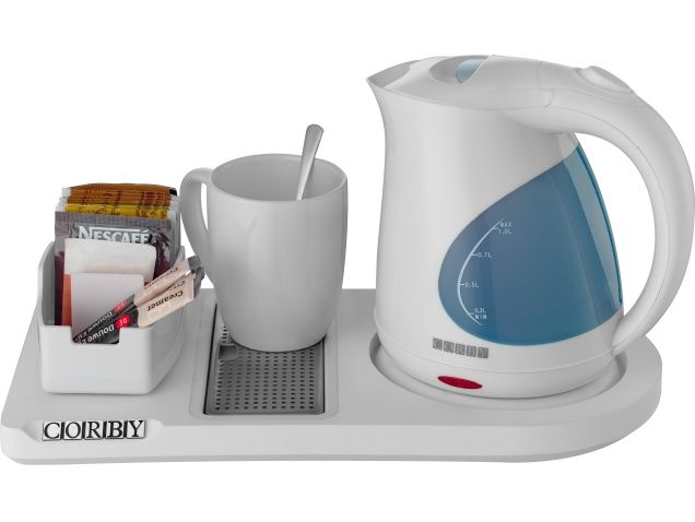 Lancaster Compact Welcome Tray - White (With 1L Kettle) | Corby Of Windsor