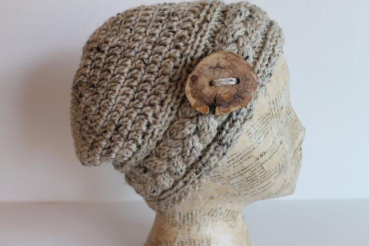 Hand Made Crochet and Knitted Hat with Wooden Button Cable Stitch Headband in Oatmeal  Blended Yarn by FunkieFrocks on Etsy
