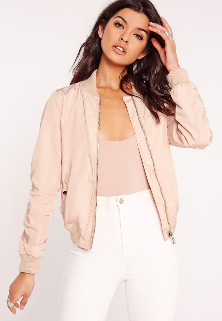 Shop for Lightweight Zipped Sleeve Pocket Bomber Jacket Pink by Missguided at ShopStyle.