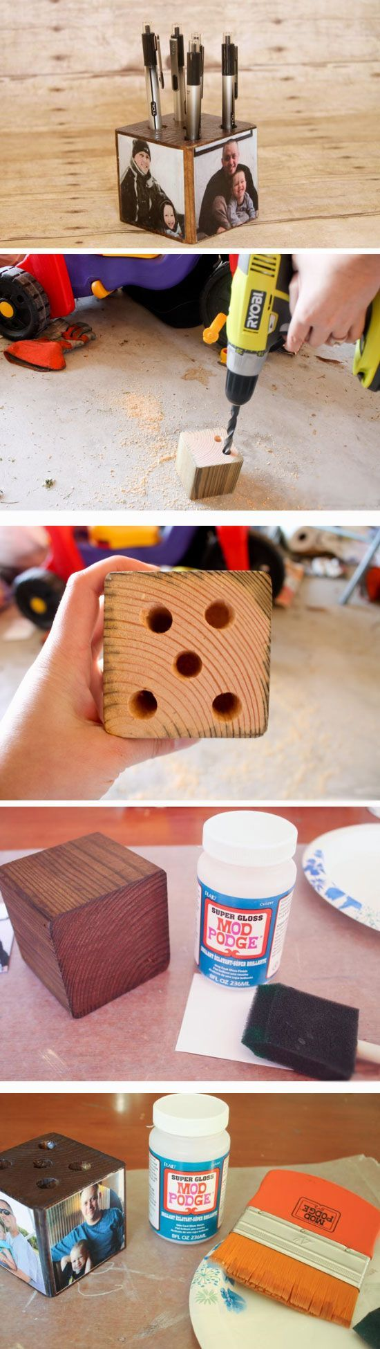 Photo Pen Holder | 25+ DIY Christmas Gifts for Dads & Grandfathers