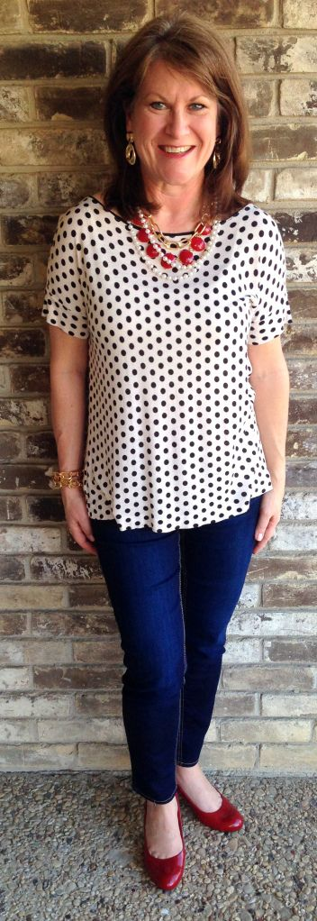 Frugally Yours-- Black and white polka dot shirt: The LOFT Jordache dark skinny ankle jeans: Walmart Comfort Plus by Predictions red pumps: Payless Red Statement necklace: Sample Sale Gold necklace and bracelet: LYDesigns Pearl strand: Claire's Accessories Gold door knocker earrings: Charming Charlie