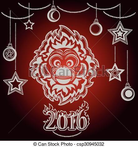 Вектор - Новый год Обезьяны.  - Иллюстрации, фотобанк иллюстрации, акции клип значок искусство, акции клипарт иконки, логотип, линии искусства, EPS картина, картины, графика, графика, рисунок, рисунки, векторное изображение, иллюстрации, векторной графики EPS