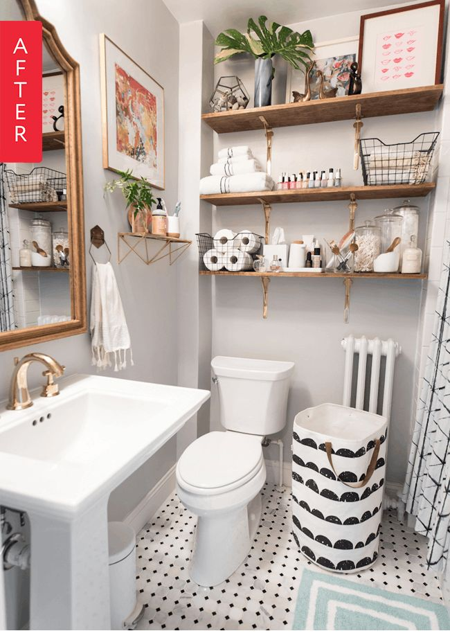 Before & After: A Small Bathroom Lightens Up