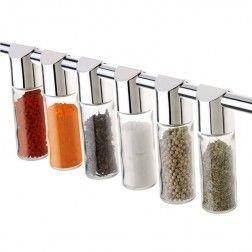 Porta Temperos de Vidro para Barra de Cozinha - Kit com 6 peças