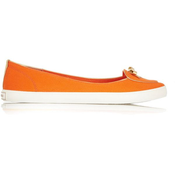 Tory Burch Dakota canvas ballet flats (290 SAR) ❤ liked on Polyvore featuring shoes, flats, orange, canvas ballet flats, canvas slip on shoes, ballerina shoes, canvas ballet shoes and canvas shoes