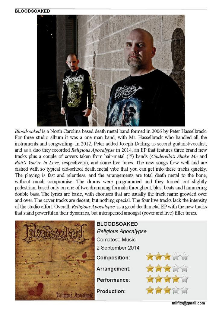 """Click on this link to read about the new album from BLOODSOAKED  """"Religious Apocalypse"""". MILFITS 'zine"""