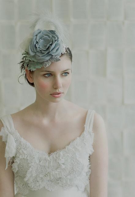 Hat with handmade blue jacquard flowers: Twigs & Honey by Myra Callan  Elizabeth Dye dress    Model: Anna Adams    Styling: Chelsea Fuss    Photography: Lisa Warninger