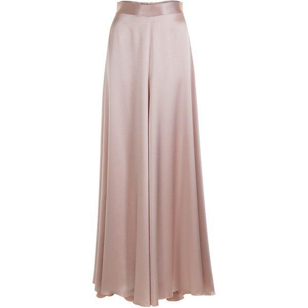Jessica Choay     Loose Satin Maxi Skirt ($765) ❤ liked on Polyvore featuring skirts, maxi skirts, satin skirt, high waist long maxi skirt, brown skirt and floor length maxi skirt