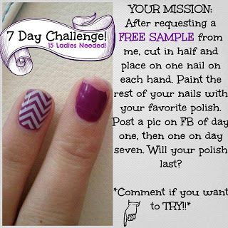 https://cupcakejessiloves.jamberry.com Jamberry 7 day Challenge. Get your FREE sample and take the challenge!! Post your pictures to: https://www.facebook.com/pages/Jamming-with-Jessica/942968442420220?fref=nf