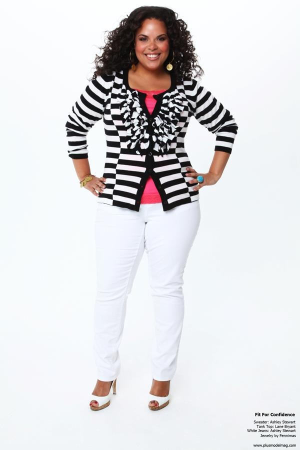 Ashley Stewart black & white striped sweater, lane bryant coral tank top, with Ashley Stewart white jeans