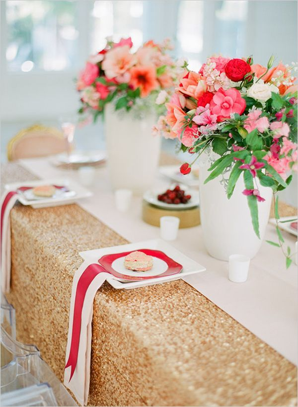Great Sweet Valentineu0027s Day Tablescape With Sequins And Red Ribbons
