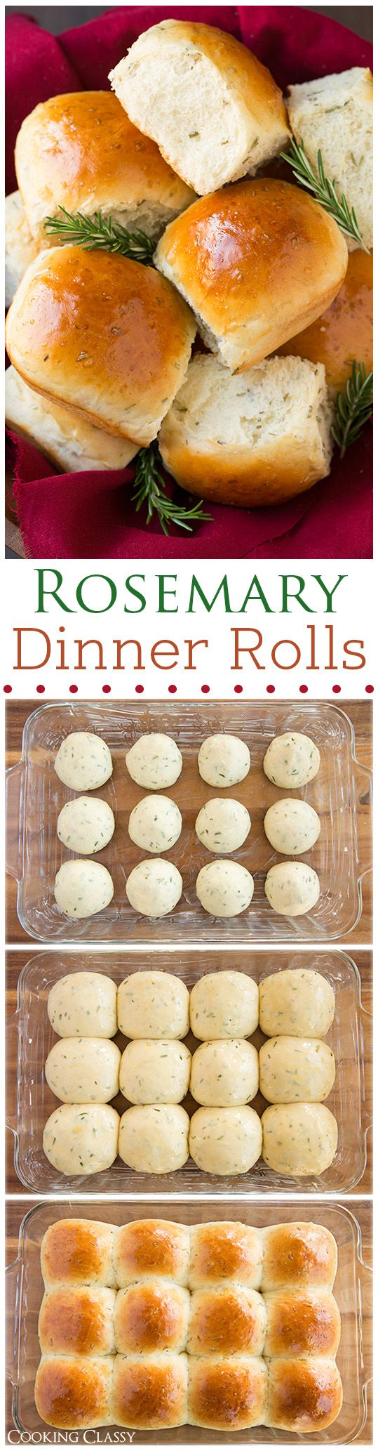 Rosemary Dinner Rolls - These rolls are heavenly! Light and fluffy and full of fresh rosemary flavor. I love them dipped in olive oil and cracked pepper.