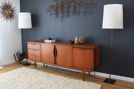 This is just to show how the grey with the warm teak goes well together and is a great mid cent. modern look. danish modern teak sideboard