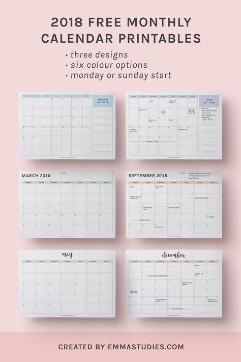 2018 monthly free printable calendars by emmastudies | cute stuff ...