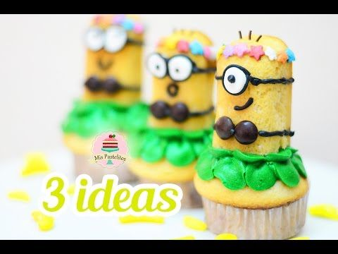 DIY | DECORA DE MINIONS CUPCAKES Y POSTRES | 3 IDEAS | MIS PASTELITOS - YouTube