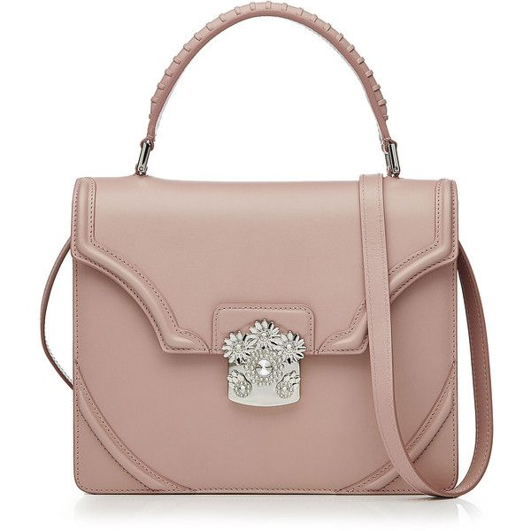 Alexander McQueen Flower Leather Shoulder Bag (£1,560) ❤ liked on Polyvore featuring bags, handbags, shoulder bags, bolsas, sac, rose, leather shoulder bag, leather shoulder handbags, brown purse and leather handbags