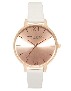 Olivia Burton – Armbanduhr in Roségold mit großem Zifferblatt