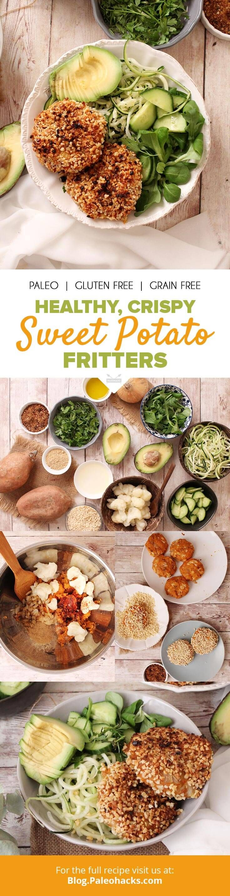 These healthy sweet potato fritters pack steamed cauliflower,almonds and flax seeds into crispy patties for a nutritious, savory meal. Get the recipe here: http://paleo.co/SWPfritters
