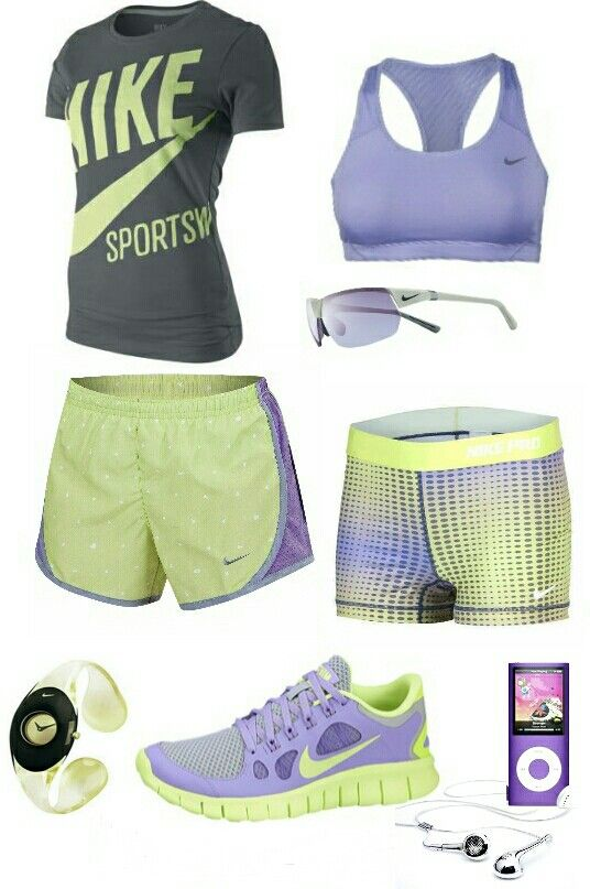 Women's fashion Purple and yellow nike outfit