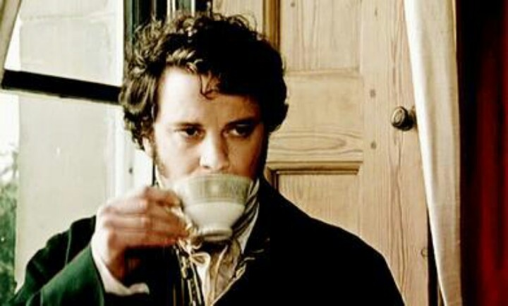 Mr. Darcy sipping tea