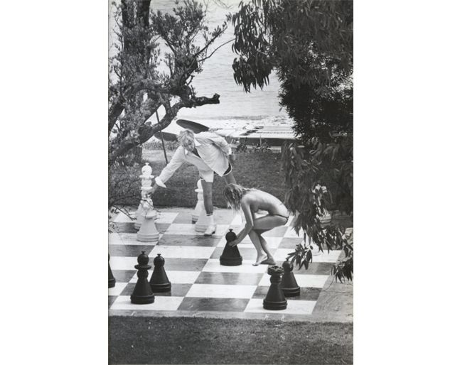 Life-size chess sets inspired by Gunther Sachs seen pictured at his villa, La Capilla, in St. Tropez published in Assouline's In The Spirit of St. Tropez