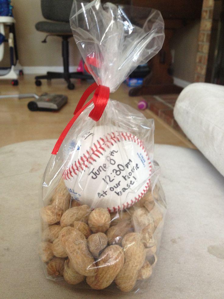 Invitation idea for a baseball themed party! Everyone loved them!