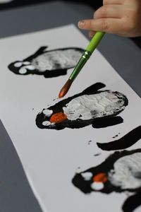 Hahaha... so the instructions are not in english, but potato print penguins, easy enough to understand....