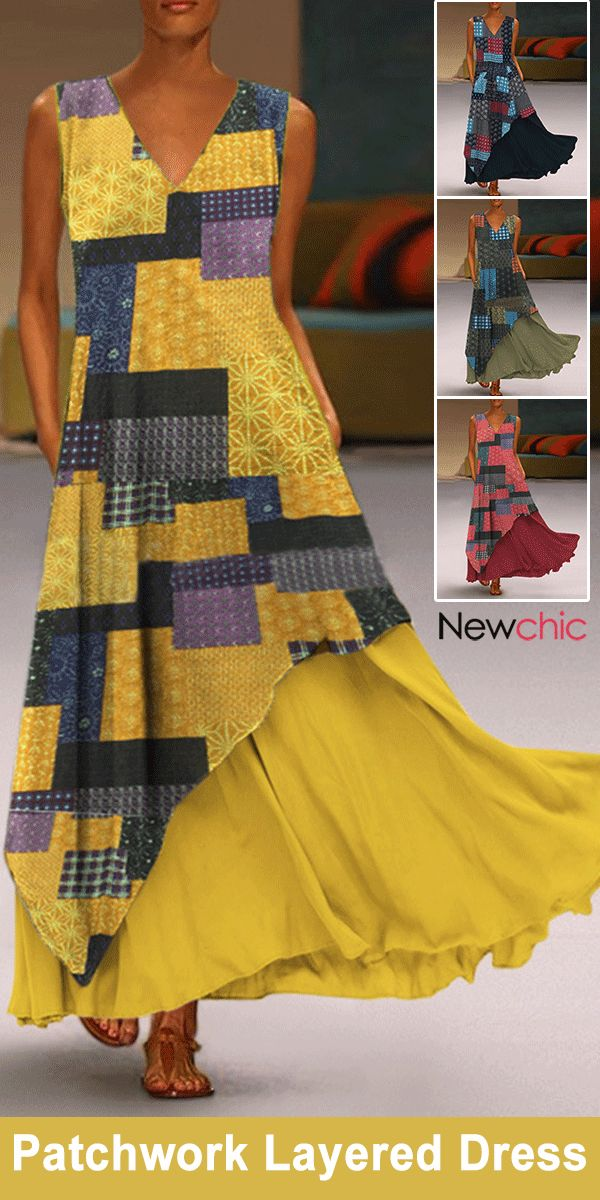 Print Patchwork Layered Sleeveless Maxi Dress.