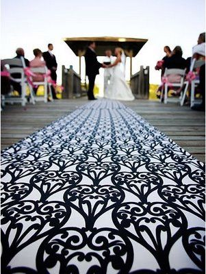 Who says you have to use a basic white aisle runner... not me :)
