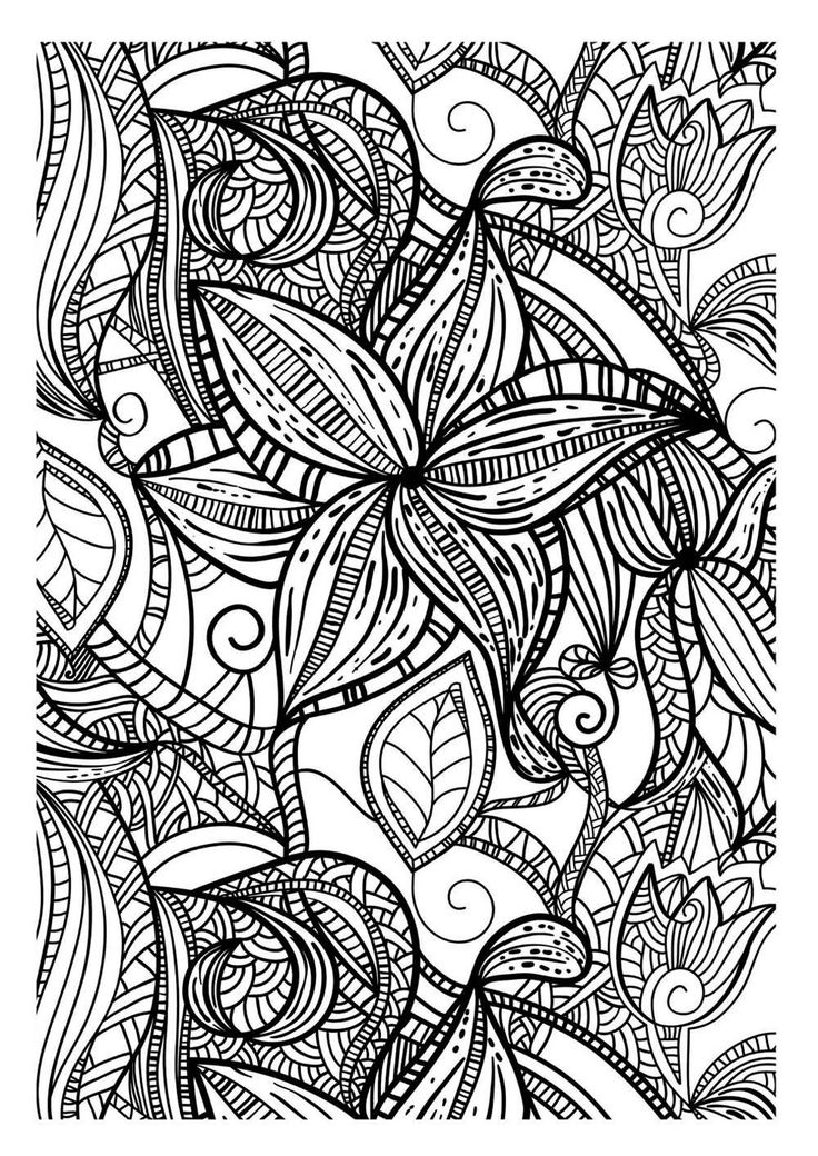 Free coloring page «coloring-adult-flowers-dark». Drawing with thick lines of various leaves, totally free like all the contents in this website...  adult coloring page to print and color