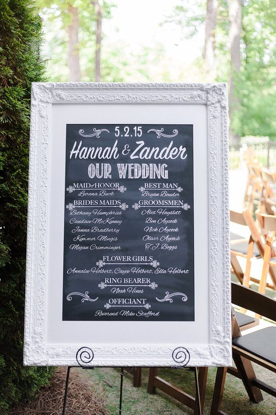 Save money & time on wedding programs for your wedding by getting this DIY Printable Wedding Program Sign. Very easy, and looks great in a frame and on an easel! Shop more wedding decor here: http://AycockDesigns.Etsy.com