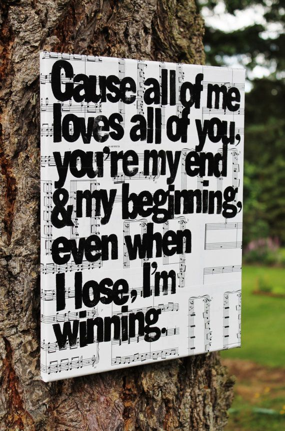 "Sweet wedding gift - 11x14 Canvas - ""All of Me"" song lyrics by John Legend - Hand stamped in acrylic over vintage sheet music by Houseof3"