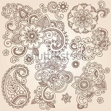 Менди Тату Хной Пейсли Цветы Рисовал Set Абстрактные Цветочные Иллюстрации Элементы Дизайна стоковый вектор - Clipart.me
