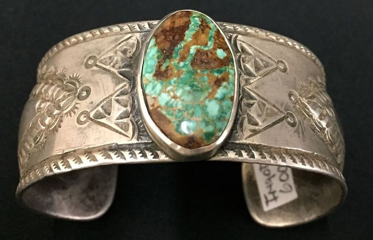 Vintage Turquoise & Sterling Cuff Bracelet * Native American Indian* Ingot