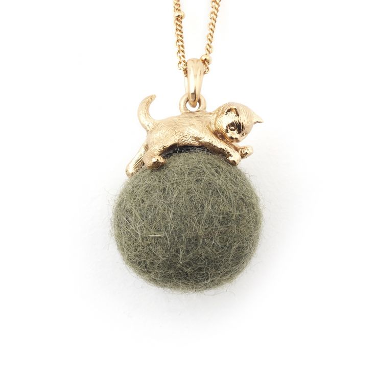 • Gold Plated with Khaki Wool Ball • Lobster Claw fastening