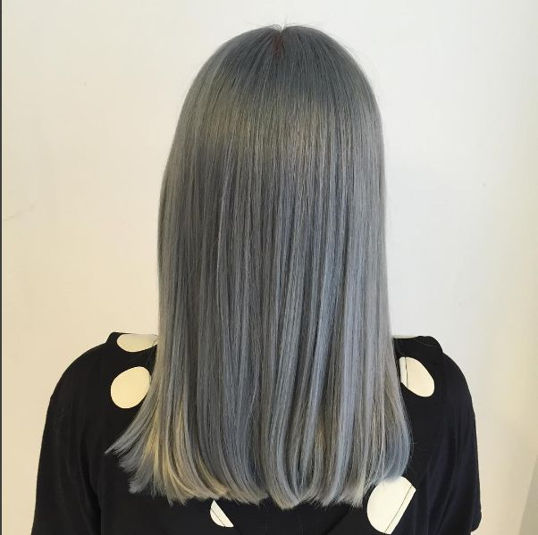Steel grey hair color inspiration via stylist Hanna Florby, who used Aveda hair color to achieve this cool metallic look. Aveda color formula in comments.