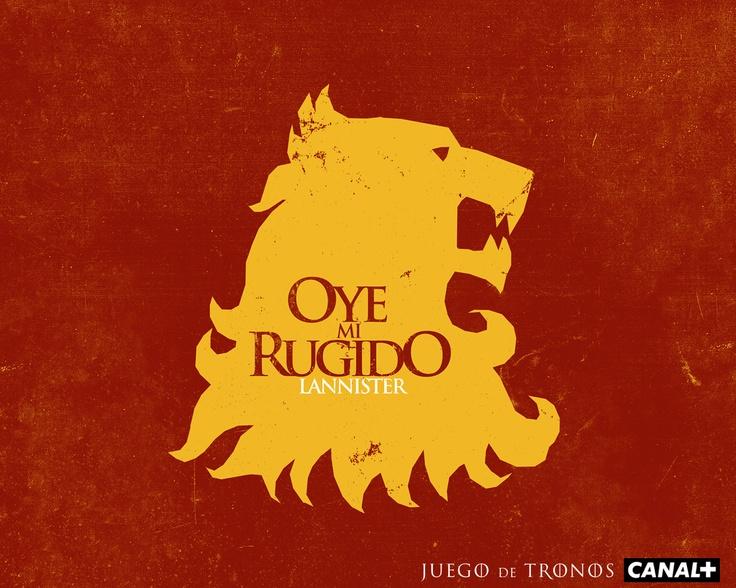 Los Lannister se caracterizan por ser rubios, altos y apuestos. Gracias al oro de su hogar, Roca Casterly, es la más rica de las casas. Su símbolo es el león de oro, representado sobre campo de gules. Aunque el que se sienta en el Trono de Hierro es el joven Joffrey, el señor de Roca Casterly y Guardián del Occidente es su abuelo Tywyn Lannister, que tiene tres hijos: los gemelos Jaime, Lord Comandante de la Guardia Real, y Cersei, la reina regente,  y el enano Tyrion, la Mano del Rey.