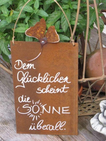 """Edelrost Schild mit Ginkgoblatt """"Dem Glücklichen"""""""