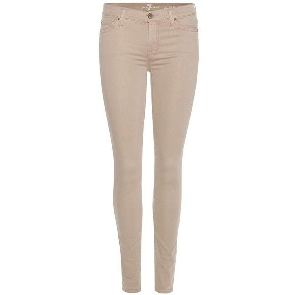 7 For All Mankind The Skinny Sateen Jeans ($225) ❤ liked on Polyvore featuring jeans, bottoms, pants, calças, pantaloni, beige, beige jeans, 7 for all mankind jeans, super skinny jeans and skinny fit jeans