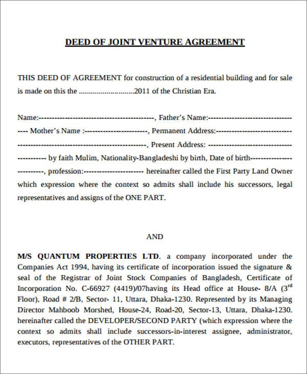 Joint Venture Agreement Samples And Templates