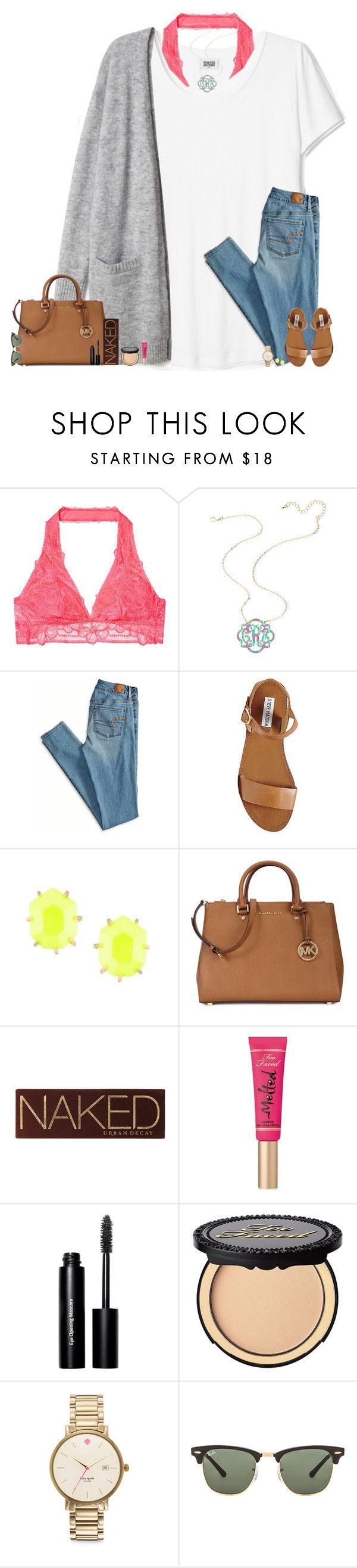 """I'm looking for someone to make me smile through the pain..."" by maggie-prep ❤ liked on Polyvore featuring American Eagle Outfitters, Steve Madden, Kendra Scott, Michael Kors, Urban Decay, Too Faced Cosmetics, Bobbi Brown Cosmetics, Kate Spade and Ray-Ban"