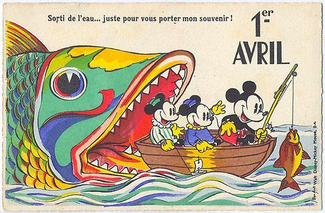 Vintage Disney April 1st card. #vintage #April_Fools_Day #fish