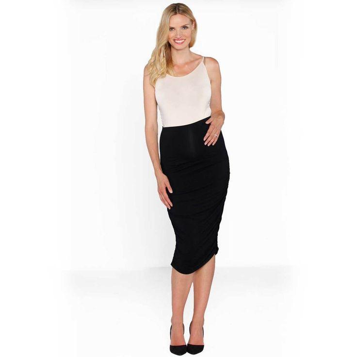 Angel Maternity Black High Waist Skirt - Pregnancy Work & Evening Wear